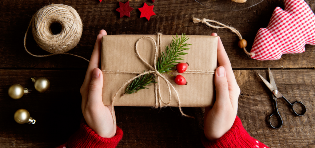 Gift with brown paper wrapping