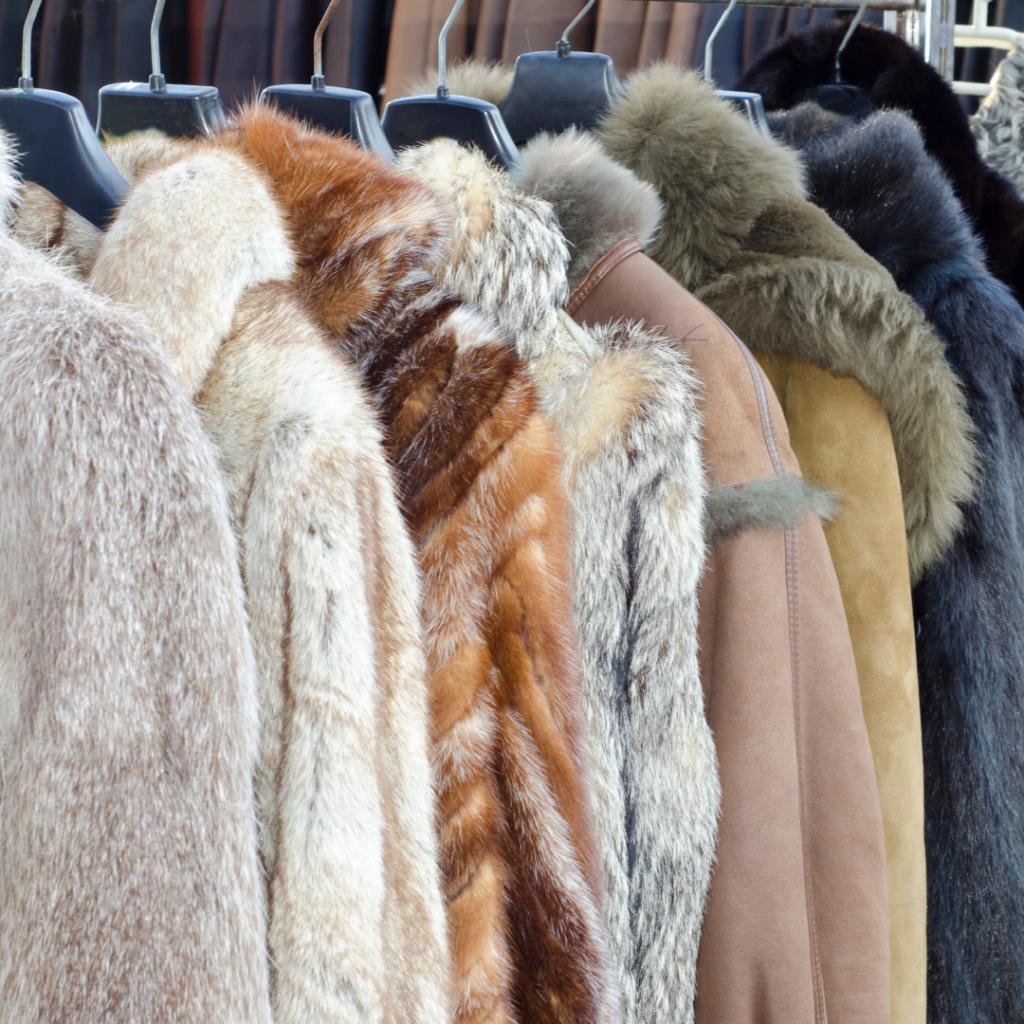 Fur coats on rail